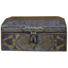 Persian Box in Brass and Silver with Calligraphy, circa 1800
