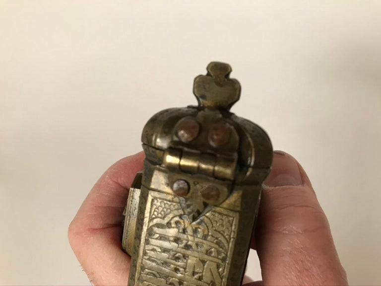 Persian Brass Qalamdan with Arabic Calligraphy, Inkwell and Pen Box For Sale 11