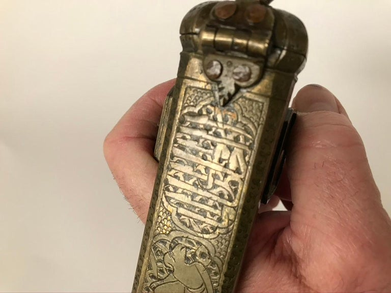Persian Brass Qalamdan with Arabic Calligraphy, Inkwell and Pen Box For Sale 12