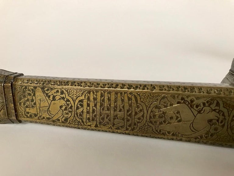 19th Century Persian Brass Qalamdan with Arabic Calligraphy, Inkwell and Pen Box For Sale