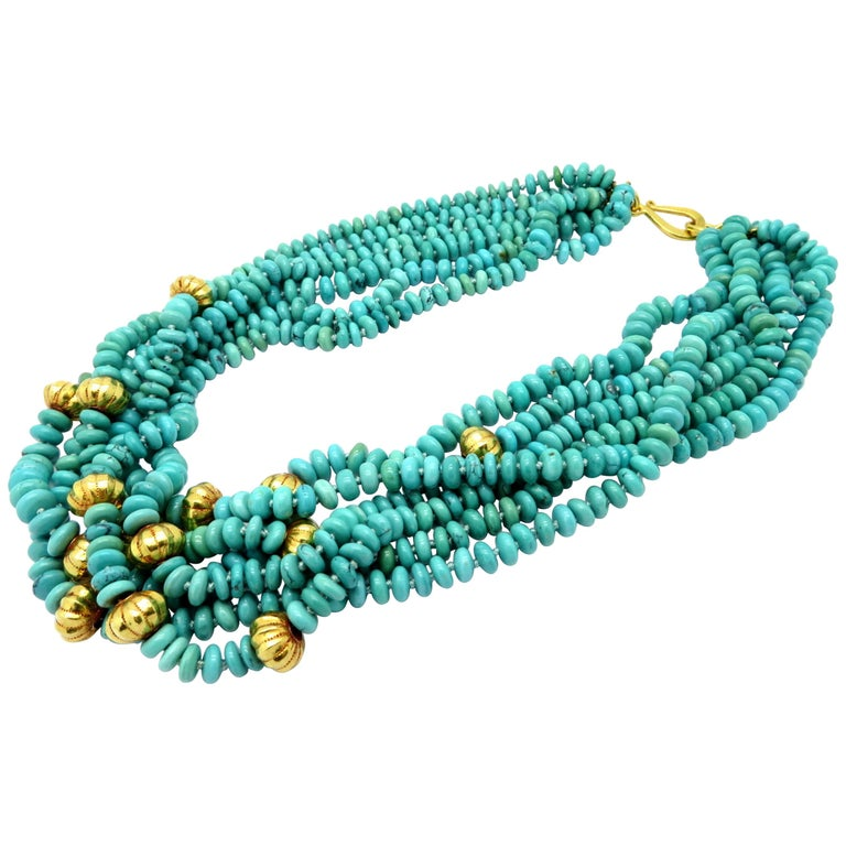 Persian Estate Turquoise and Gold Bead 23 Karat Yellow Gold Fashion Necklace For Sale