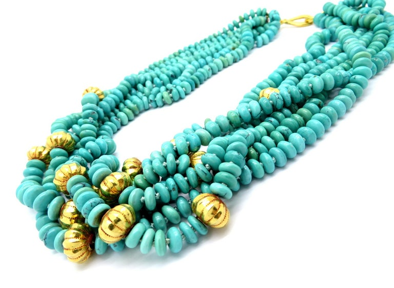 Persian Estate Turquoise and Gold Bead 23 Karat Yellow Gold Fashion Necklace In Excellent Condition For Sale In Scottsdale, AZ