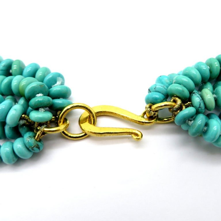 Women's or Men's Persian Estate Turquoise and Gold Bead 23 Karat Yellow Gold Fashion Necklace For Sale