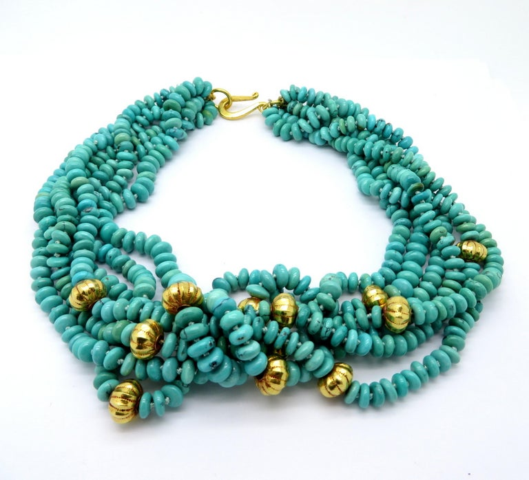 Persian Estate Turquoise and Gold Bead 23 Karat Yellow Gold Fashion Necklace For Sale 1