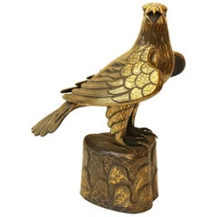 Persian Falcon Sculpture in Steel with Gold Inlay