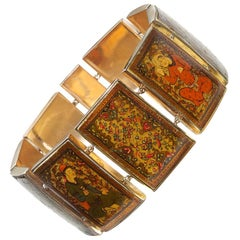 Persian Gold Enamel Painted Panel Bracelet