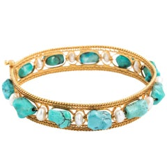 Persian Gold, Turquoise and Pearl Bracelet