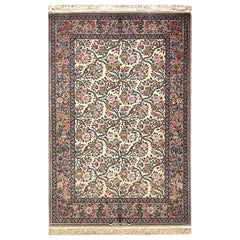 Persian Hand Knotted All-Over Floral Silk Isfahan Rug