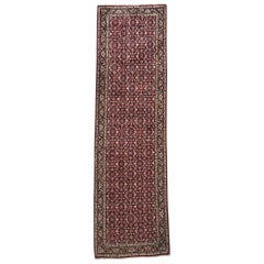 Persian Hand Knotted All over Herati Red Tabriz Runner Rug, circa 1970