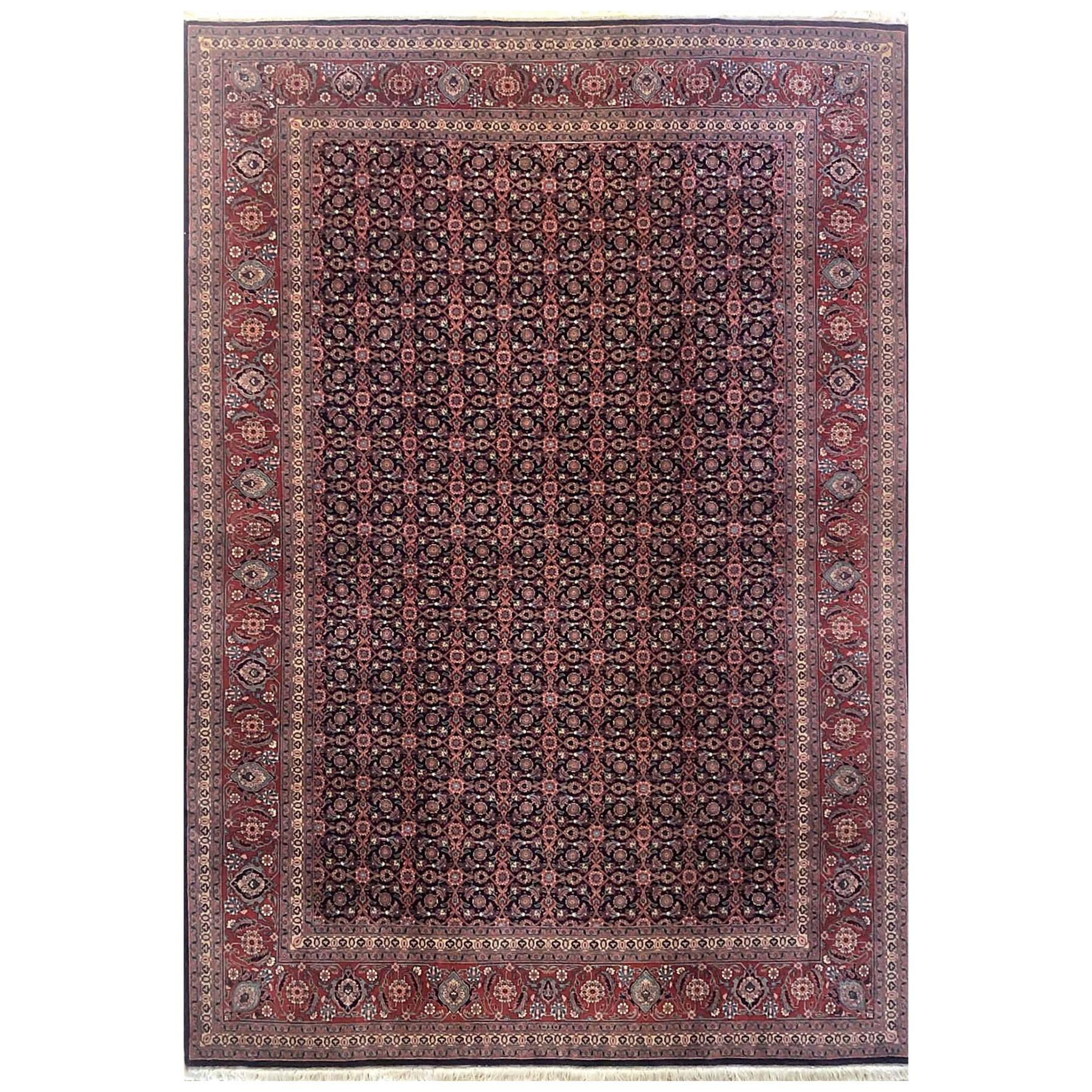 Persian Hand Knotted All-Over Herati Red Tabriz Runner Rug
