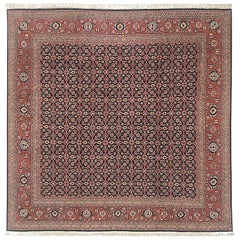 Persian Hand Knotted All-Over Rust Dark Blue Herati Design Tabriz Rug