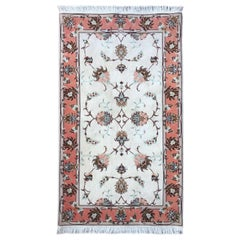Persian Hand Knotted All-Over Semi Floral Cream Tabriz Rug