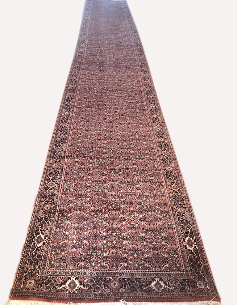 Persian Hand Knotted Blue Red Herati Design Bijar Runner Rug For Sale 5