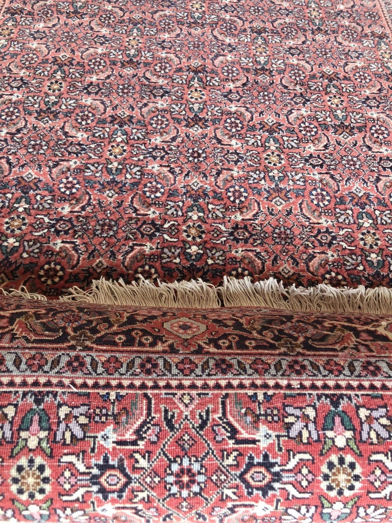Hand-Knotted Persian Hand Knotted Blue Red Herati Design Bijar Runner Rug For Sale
