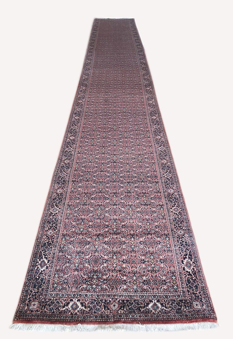 Persian Hand Knotted Blue Red Herati Design Bijar Runner Rug In Good Condition For Sale In San Diego, CA