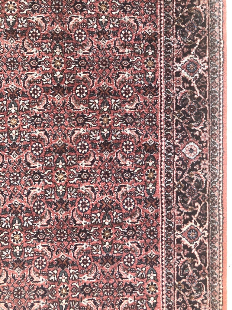 20th Century Persian Hand Knotted Blue Red Herati Design Bijar Runner Rug For Sale