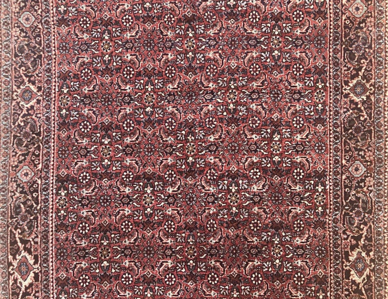 Wool Persian Hand Knotted Blue Red Herati Design Bijar Runner Rug For Sale