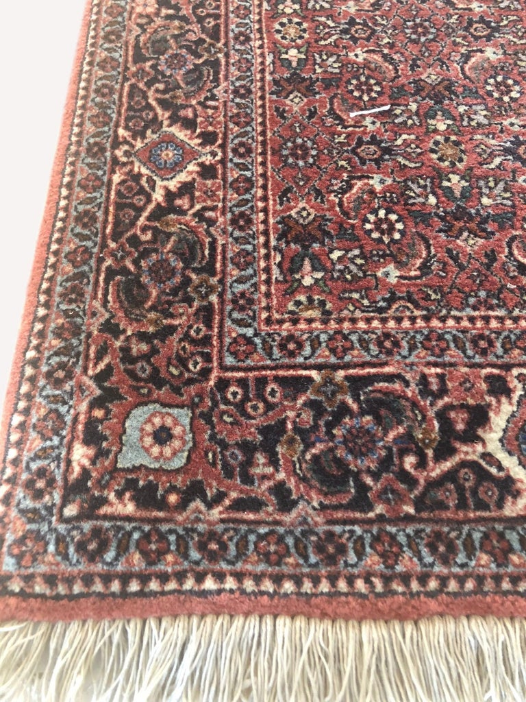 Persian Hand Knotted Blue Red Herati Design Bijar Runner Rug For Sale 1