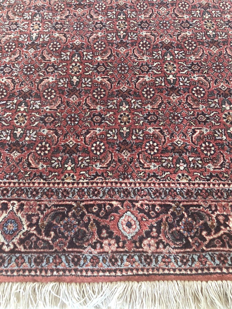Persian Hand Knotted Blue Red Herati Design Bijar Runner Rug For Sale 2
