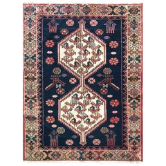 Persian Hand Knotted Blue Tribal Ardabil Rug, circa 1960
