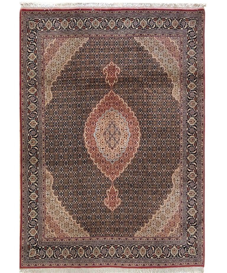 Persian Hand Knotted Fish Design Bijar Bidjar Rug For Sale 7