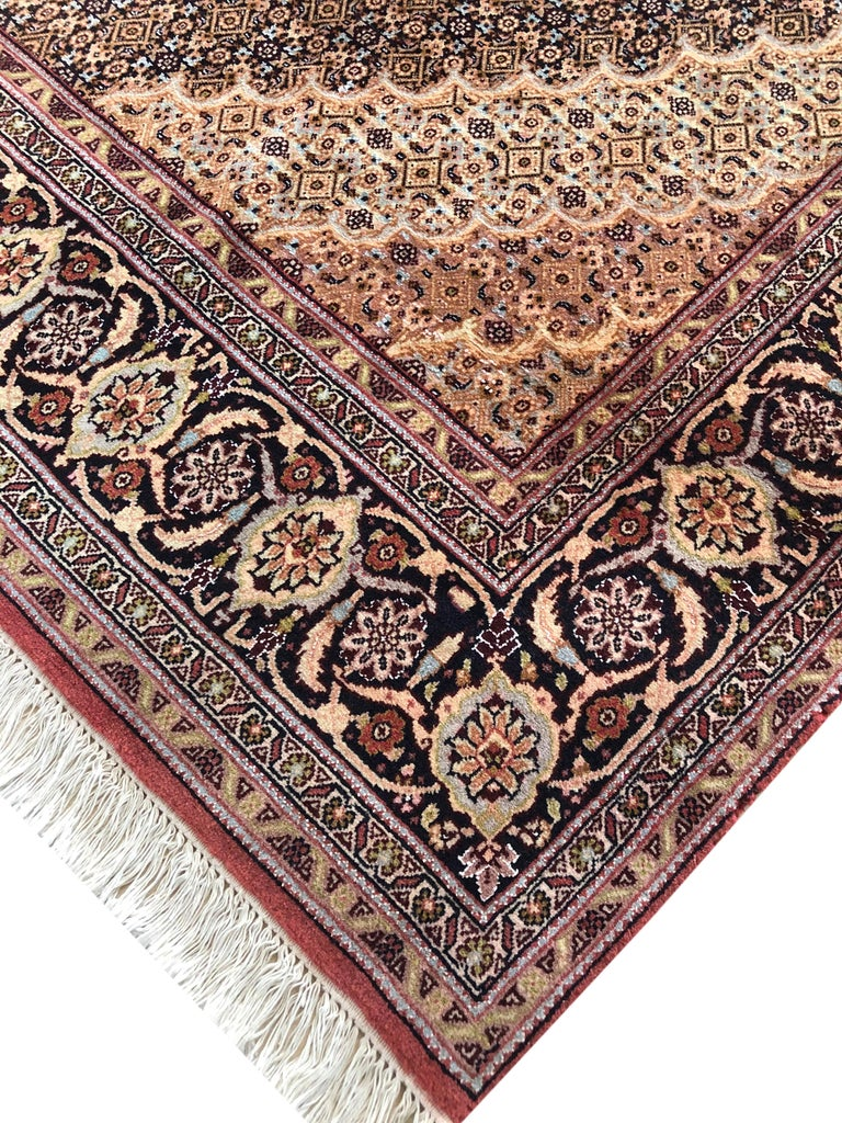 Persian Hand Knotted Fish Design Bijar Bidjar Rug For Sale 2