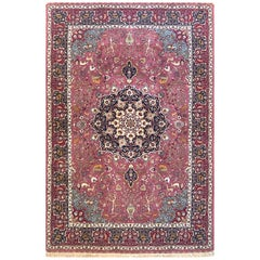 Persian Hand Knotted Floral Medallion Animal Motif Tabriz Rug 60 Raj