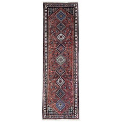 Persian Hand Knotted Geometric Repeated Medallion Yalameh Runner Rug