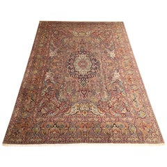 Persian Hand Knotted Medallion Floral Animal Print Tabriz Zirkhaki Design Rug