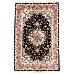 Persian Hand Knotted Medallion Floral Black Tabriz Rug 50 Raj