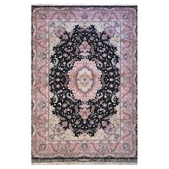 Persian Hand Knotted Medallion Floral Black Tabriz Rug