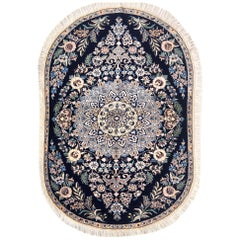 Persian Hand Knotted Medallion Floral Cream Blue Nain Oval Rug