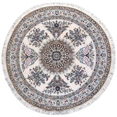 Persian Hand Knotted Medallion Floral Cream Blue Nain Round Rug
