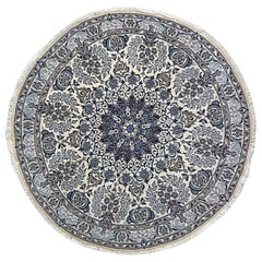 Persian Hand Knotted Medallion Floral Cream Blue Nain Rug 9