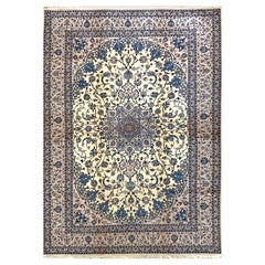 Persian Hand Knotted Medallion Floral Cream Nain Rug