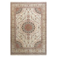 Persian Hand Knotted Medallion Floral Cream Silk Tabriz Rug New