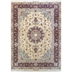 Persian Hand Knotted Medallion Floral Cream Silk Tabriz Rug