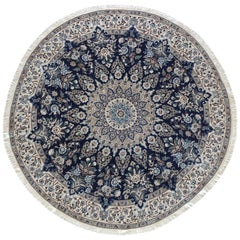Persian Hand Knotted Medallion Floral Dark Blue Nain Rug
