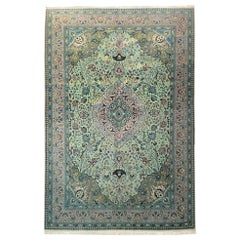 Persian Hand-Knotted Medallion Floral Green Tabriz Rug