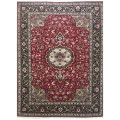 Persian Hand Knotted Medallion Floral Javad Ghalam Tabriz Wool Silk Rug
