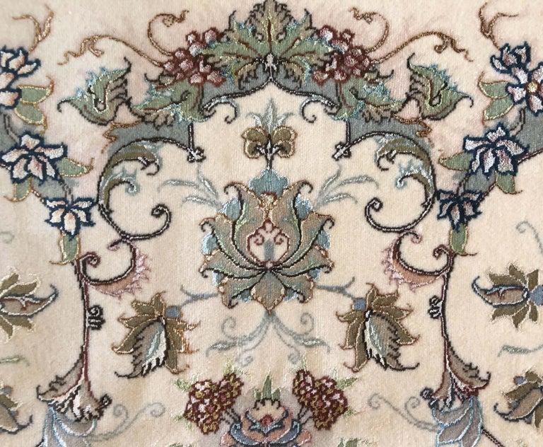 Persian Hand Knotted Medallion Floral Nouvinfar Design Tabriz Rug For Sale 4
