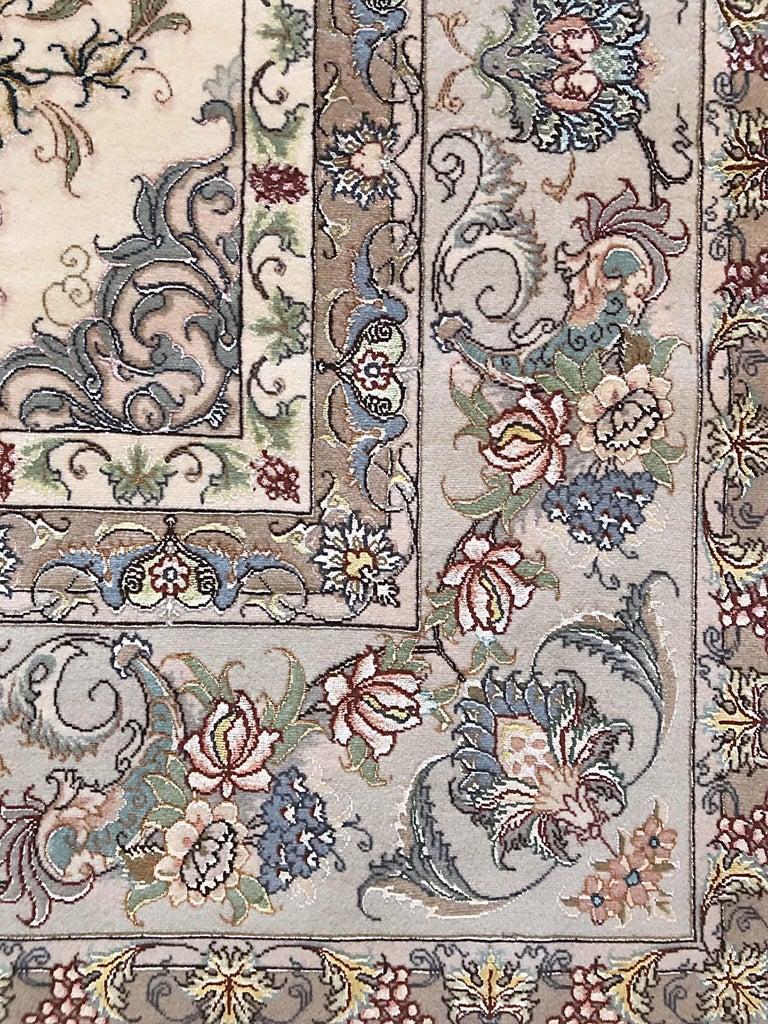 Persian Hand Knotted Medallion Floral Nouvinfar Design Tabriz Rug For Sale 5