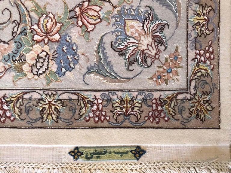 Persian Hand Knotted Medallion Floral Nouvinfar Design Tabriz Rug For Sale 6