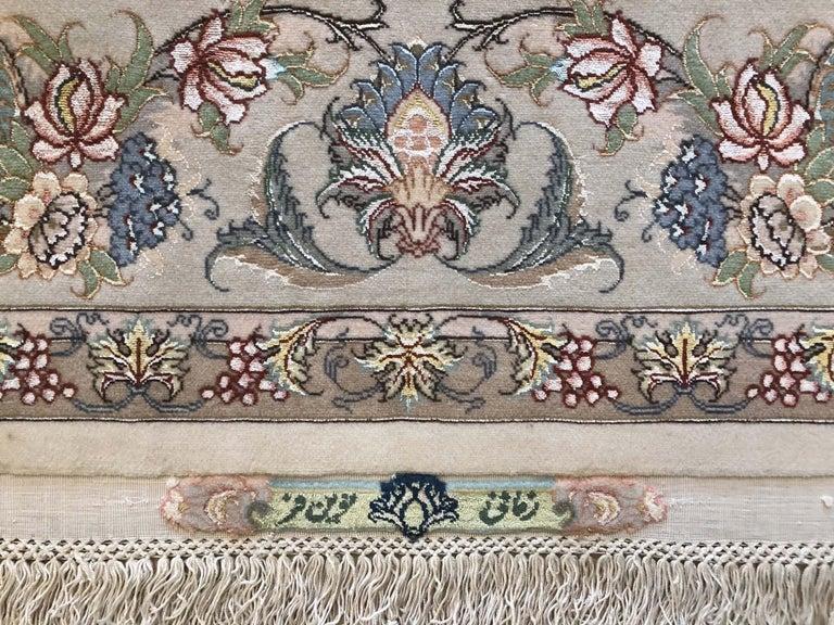 Persian Hand Knotted Medallion Floral Nouvinfar Design Tabriz Rug For Sale 7