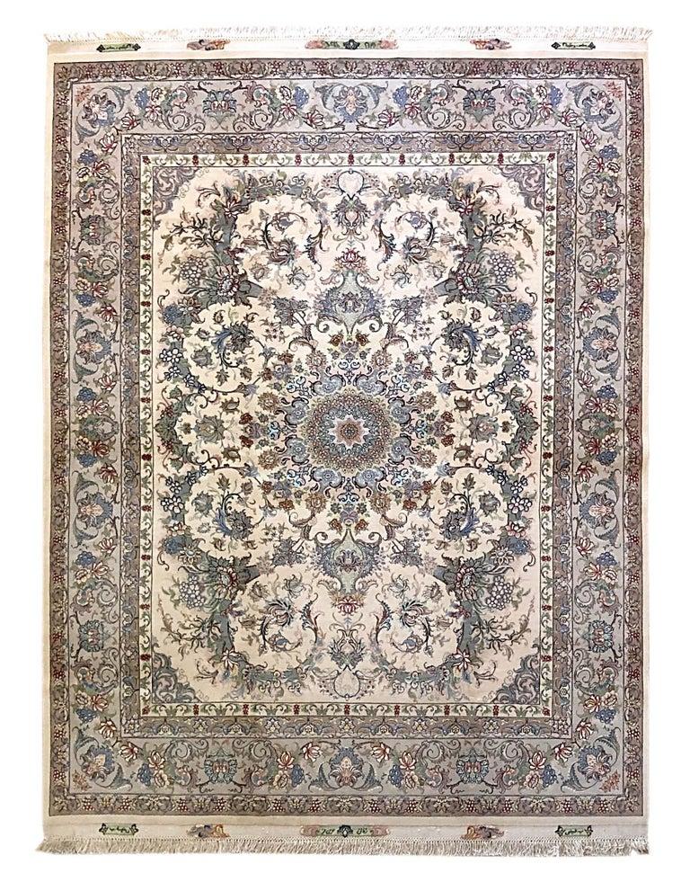 Persian Hand Knotted Medallion Floral Nouvinfar Design Tabriz Rug For Sale 11