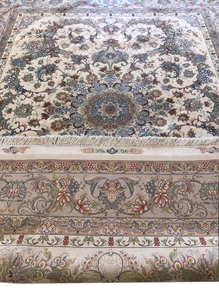 Persian Hand Knotted Medallion Floral Nouvinfar Design Tabriz Rug For Sale 12