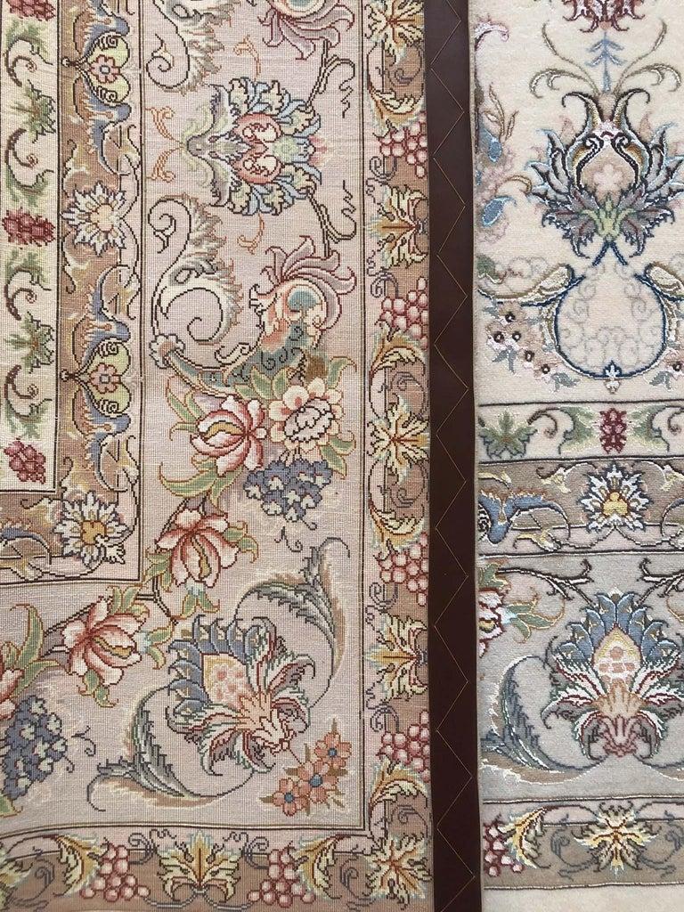 Persian Hand Knotted Medallion Floral Nouvinfar Design Tabriz Rug For Sale 13