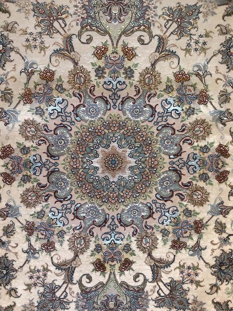 Hand-Knotted Persian Hand Knotted Medallion Floral Nouvinfar Design Tabriz Rug For Sale