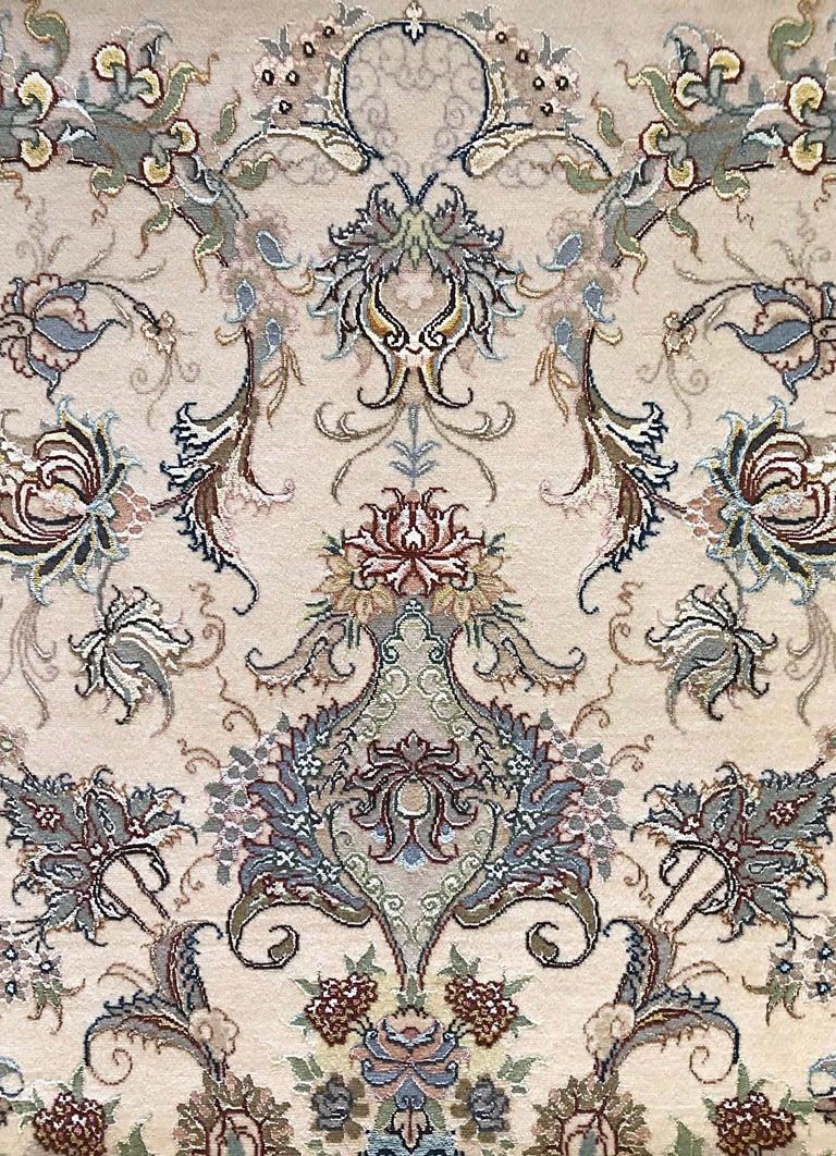 Persian Hand Knotted Medallion Floral Nouvinfar Design Tabriz Rug For Sale 1