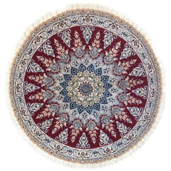 Persian Hand Knotted Medallion Floral Red Nain Rug